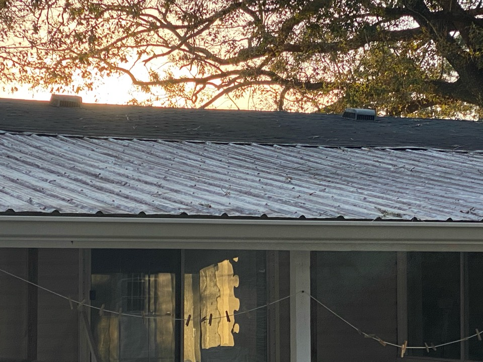 Installed a 6 inch seamless gutter in k style in almond color made by spectra metals installed out snap lock gutter guards as well