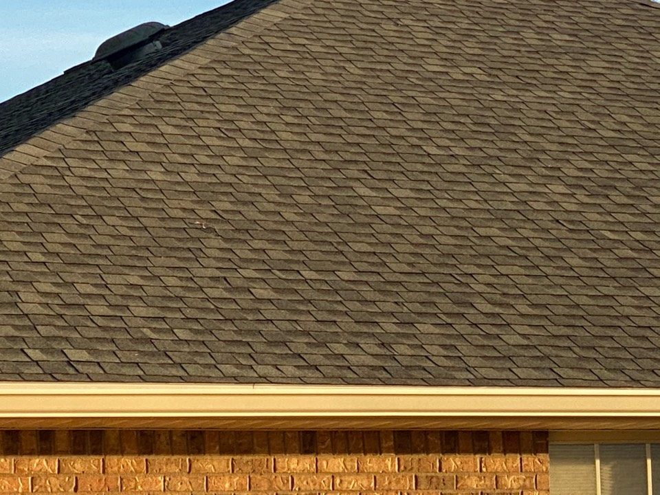 Installed 6 inch seamless gutter and snap lock gutter guards in k style in almond color