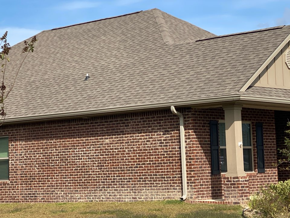 Installed a 6 inch seamless gutter in clay color with downspouts k style made by Senox Corp