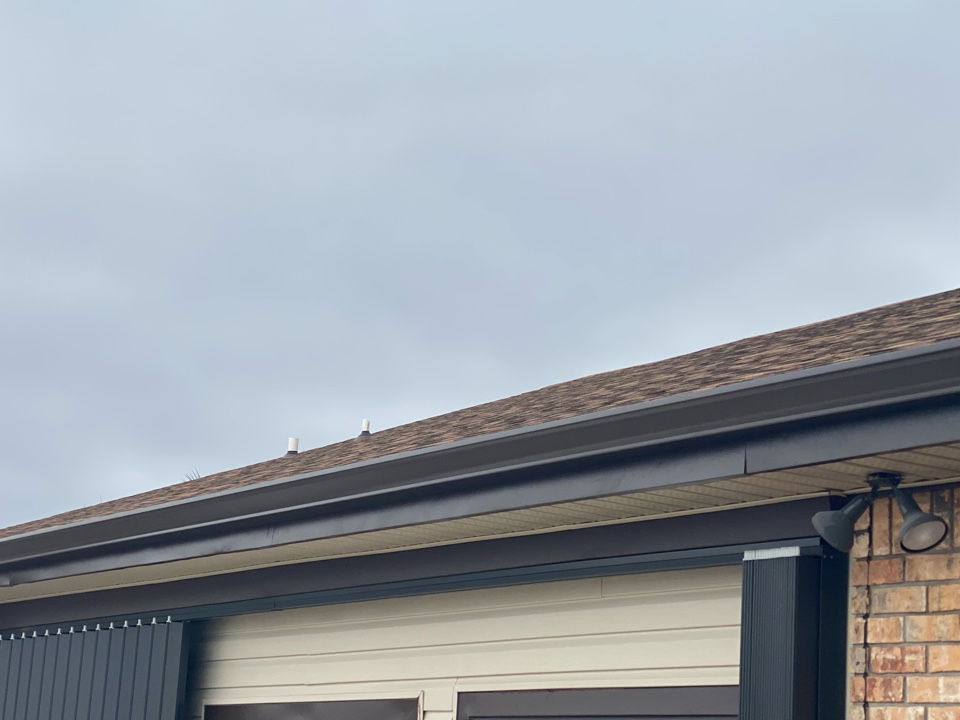 Installed 6 inch seamless gutter in musket brown color and down spouts .