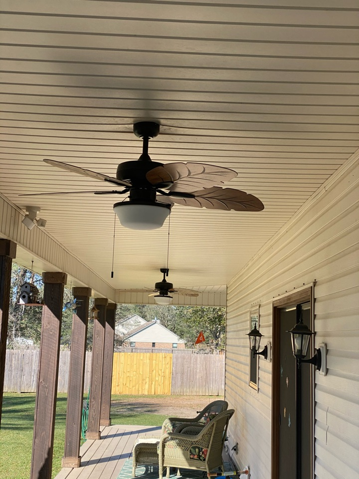 Installed four new ceiling fans