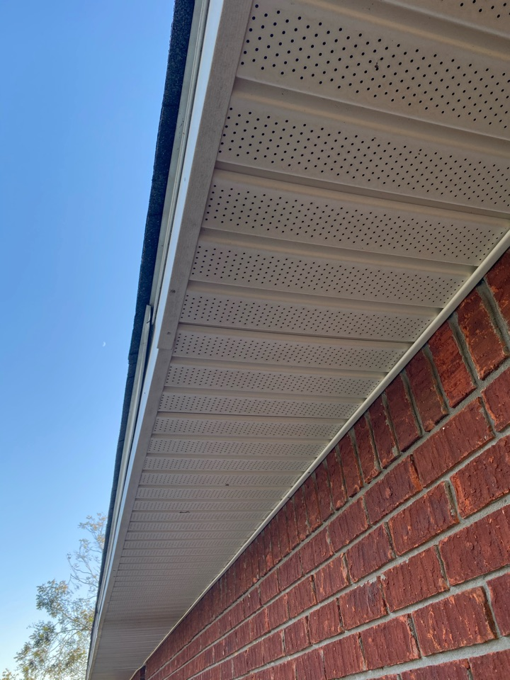Repaired vinyl soffit and facia  from hurricane Sally.