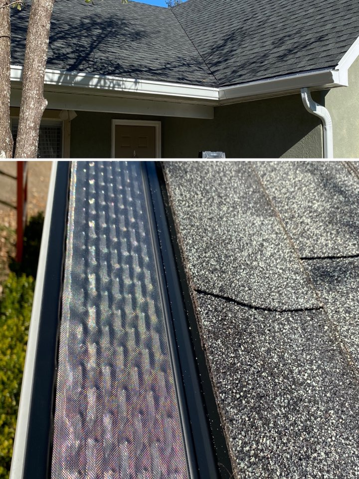 Installed 6 inch seamless k style gutters in white color with new down spouts we also used our premier leaf filter gutter guard .