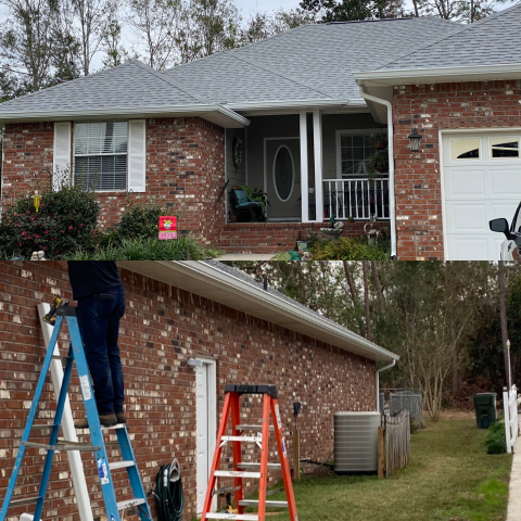 Lillian, AL - Adding seamless gutters to this beautiful home in the Spanish Cove neighborhood in Lillian, AL, gave it the polished look the homeowner desired. This gutter installation will ensure the home is protected from the damaging rain waters that wreck havoc on a homes exterior. Contact us today for a free estimate on gutter installation and/or repair. Protect your most important asset, your home!