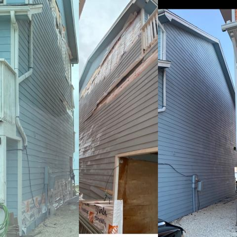 After hurricane Sally damaged the hardy siding on this house in Perdido  key Fl  we installed the siding back and painted to match