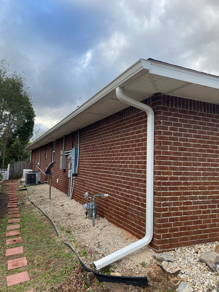 Seamless gutter cleaning .   We cleaned the gutters and installed a leaf guard gutter guard.
