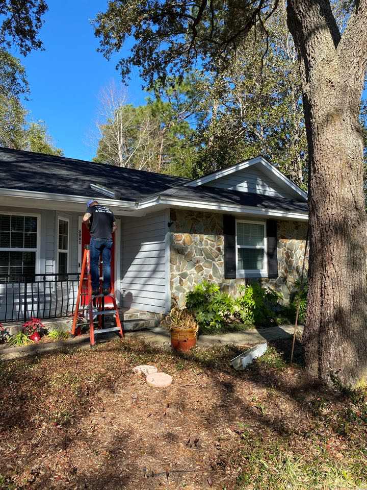 Seamless gutters.   We are installing 6 inch seamless gutters and downspouts today on this home in Pensacola fl we are also installing our premier leaf guard gutter guard