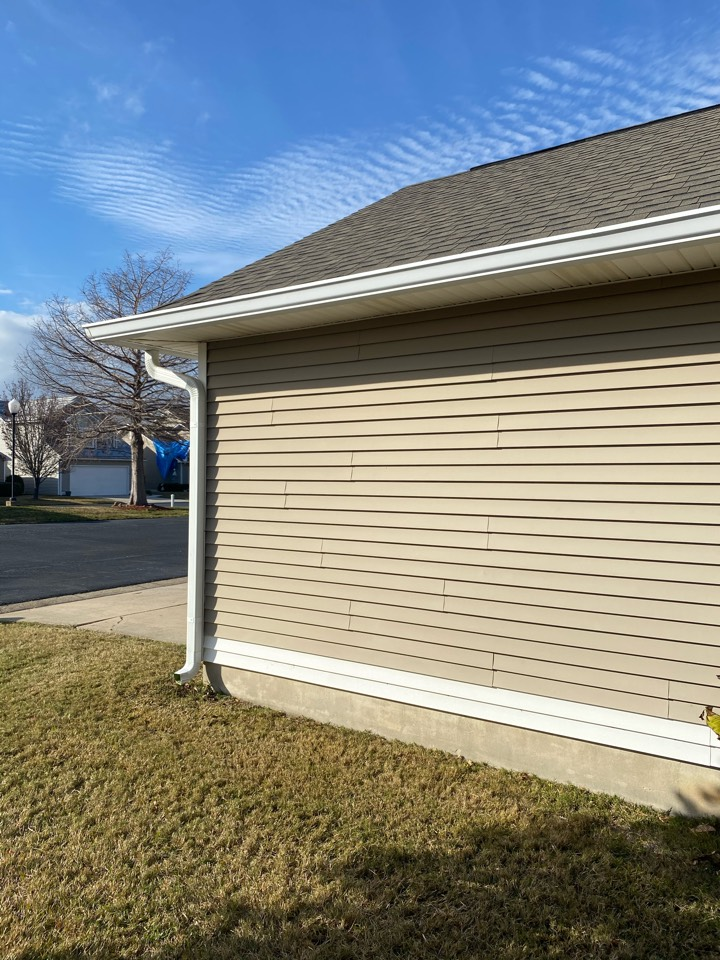 Install new vinyl siding and vinyl soffit. We also installed A 6 inch seamless gutter and a downspout
