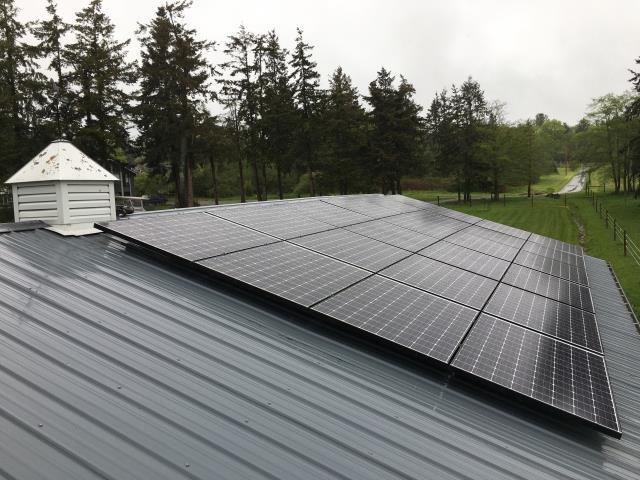 Oak Harbor, WA - Working on a solar installation at a residence in Oak Harbor, WA