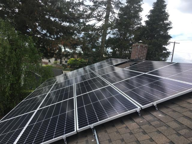 Lynden, WA - Working on a solar installation at a residence in Lynden, WA