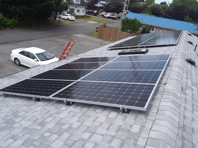 Bellingham, WA - Working on a solar installation at a business in Bellingham, WA