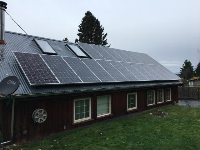Lopez Island, WA - Working on a solar installation at a residence on Lopez Island, WA