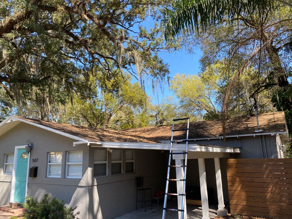 Orlando, FL - Another one bites the dust... shingle roof with low slope car port. Has been repaired numerous times and leaks persists. Customer appreciates our honesty instead of taking them for a ride on multiple repairs that will never work. They are anxious for their new roof.