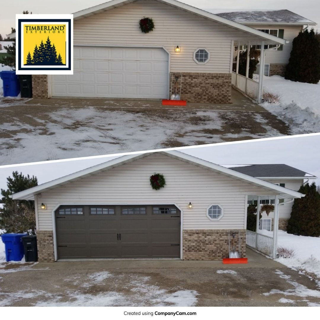 Detroit Lakes, MN - Homeowner is excited to use the new energy efficient carriage style door with super quiet garage door opener.