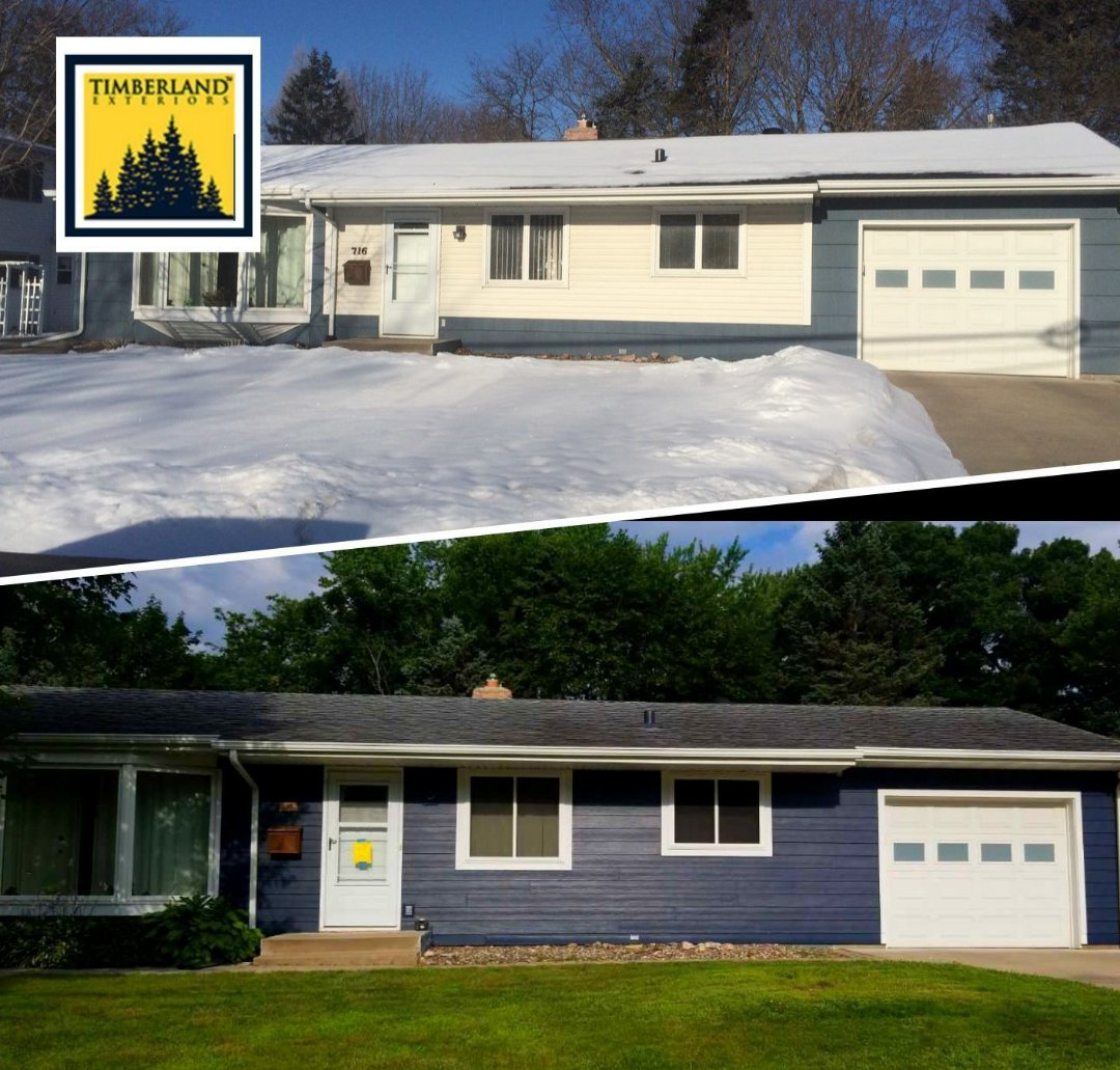 Stillwater, MN - New James Hardie siding in deep ocean color and new maintenance free windows from Revere