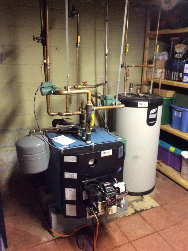 Camp Hill, PA - No heat call on thermodynamics boiler.  Preformed prediction tuneup, replaced nozzle, spin on oil filter, and strainer.  Replacing condensate drain pan