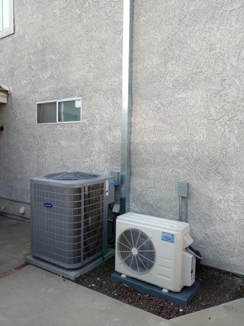 Rancho Cucamonga, CA - Replaced the existing HVAC system with a new Carrier 17 SEER.  Also installed a two zone ductless mini-split system.