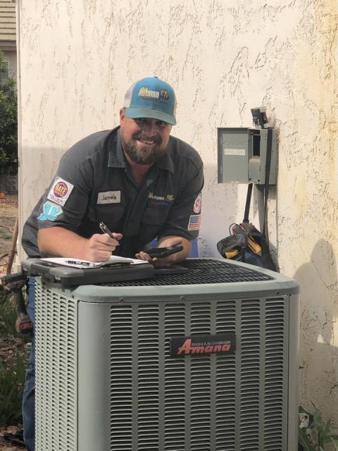 Out in Casa Grande doing preventative maintenance for one of our long time customers, on an Amana ac unit we installed many years ago. James is having fun at work...