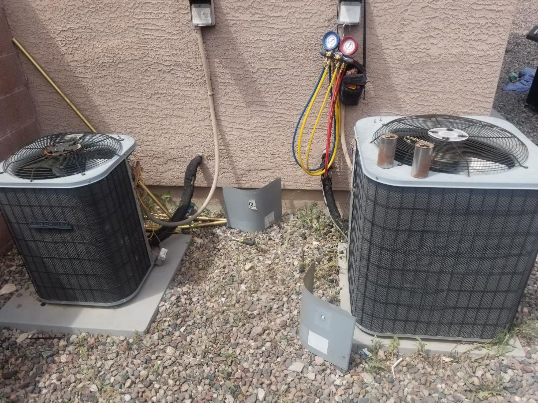 Buckeye, AZ - Working on a Groupon Tune Up on 2 Airflo heat pumps for some amazing, down to earth customers in Buckeye, Arizona.