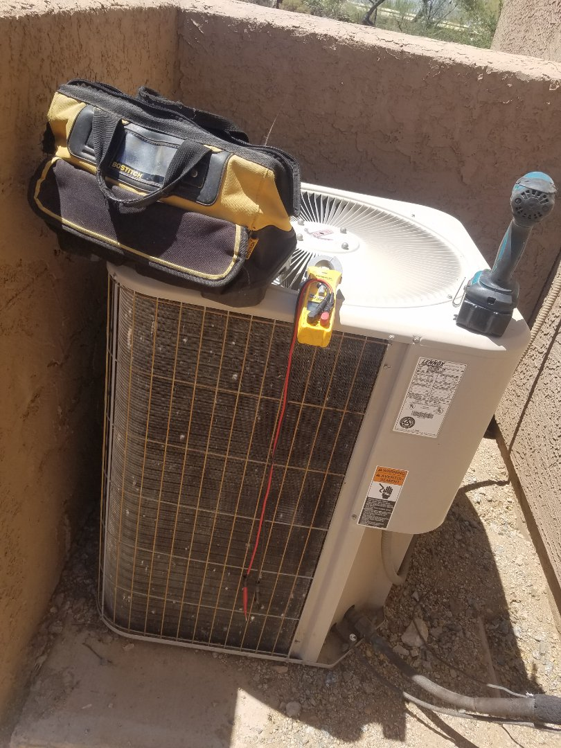 Scottsdale, AZ - Doing 2 tune ups on 2 Lennox units and cleaning condenser coils.