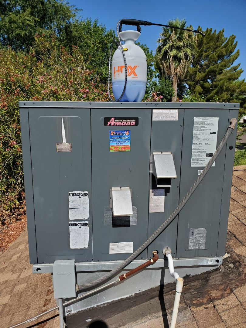 Preventative Maintenance and Outdoor Coil Clean on a Amana Gas Package Unit