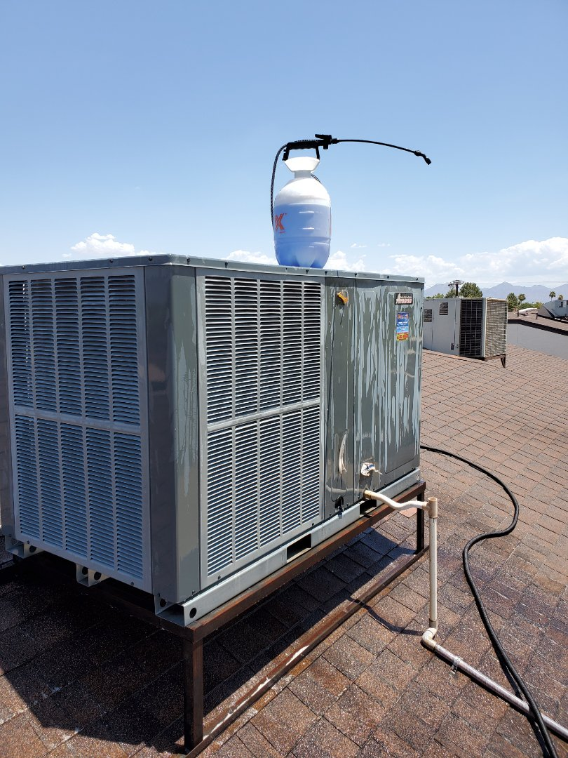 Tempe, AZ - Preventative Maintenance and Outdoor Coil Clean on an Amana Heat Pump Package Unit
