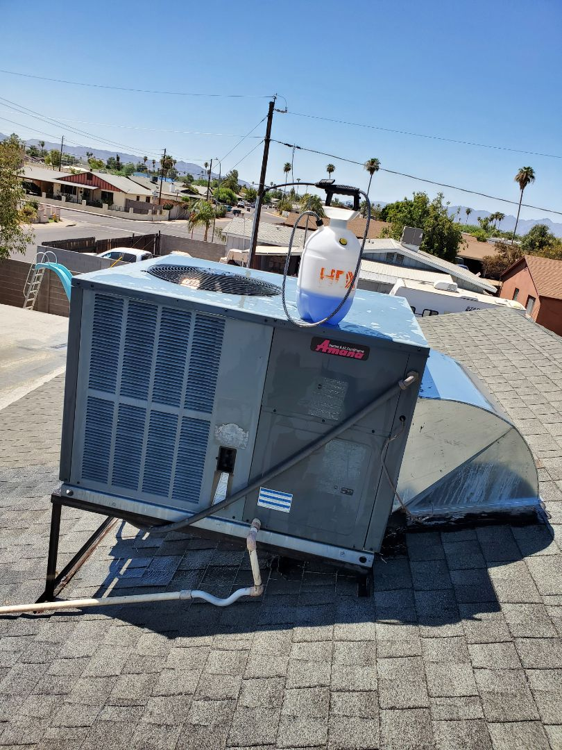 Phoenix, AZ - Preventative Maintenance and Outdoor Coil Clean on an Amana and Rheem Heat Pump Package Units.