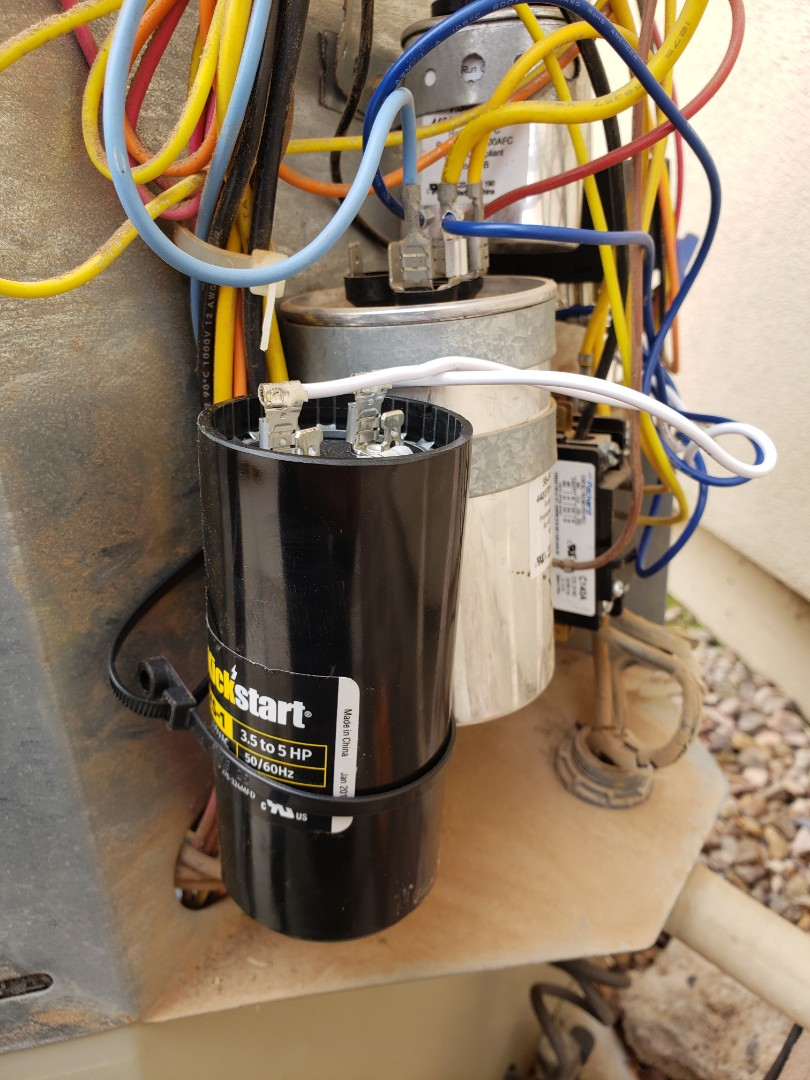 Mesa, AZ - Completed a preventive maintenance heat check and installed a hard start on a Bryant heat pump split system in Chandler, Arizona.