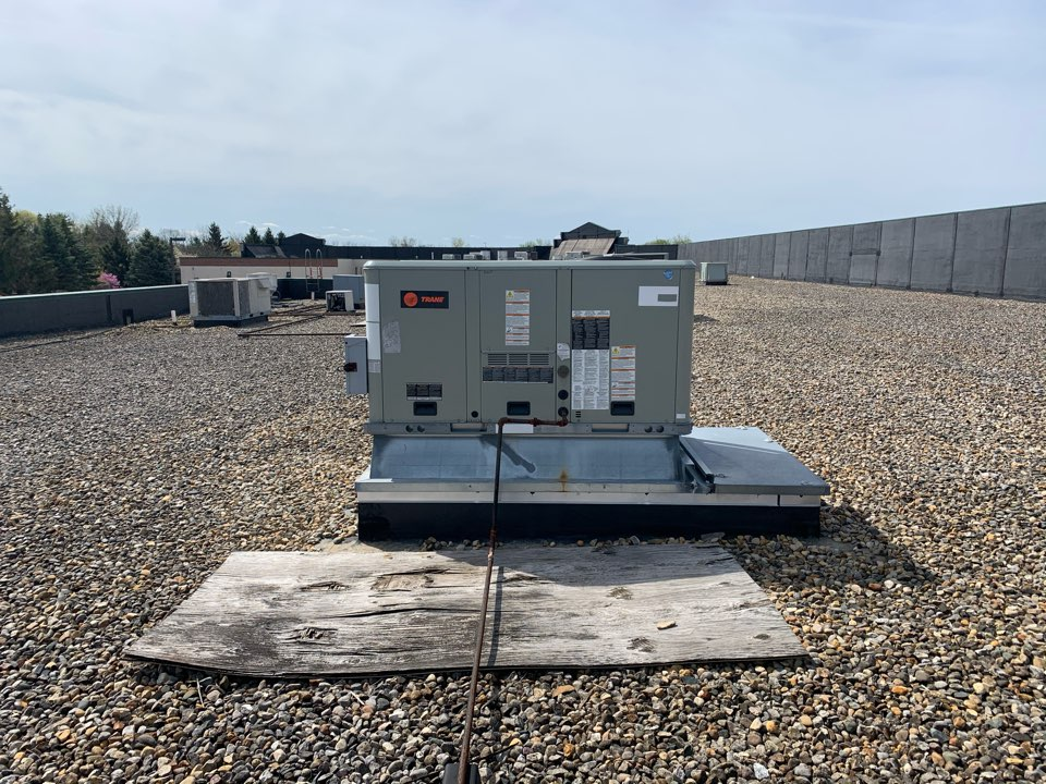 Brownsburg, IN - Annual cooling tune up and preventative maintenance on a Trane rooftop unit.