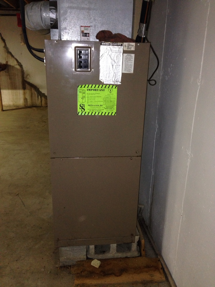 Jamestown, IN - NO HEATING SERVICE CALL. REPAIRED 1980 GENERAL ELECTRIC AIR HANDLER.