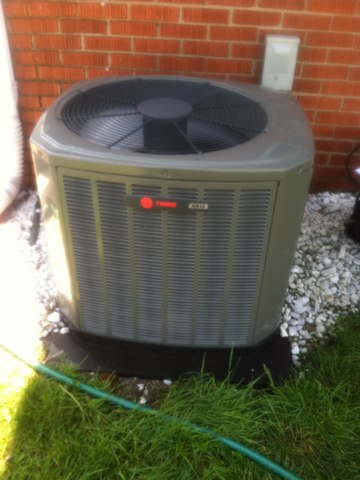 Indianapolis, IN - Cleaning and servicing a Trane air conditioner