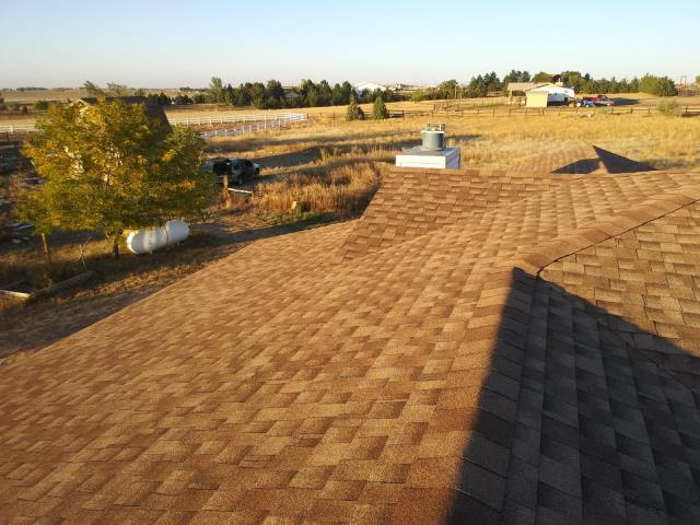 Brighton, CO - Residential roof replacement using Shakewood GAF Timberline HD shingles in Brighton, Colorado.