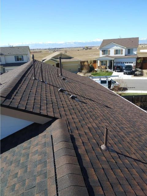 Dacono, CO - Residential roof replacement using Hickory GAF Timberline HD shingles in Dacono, Colorado.