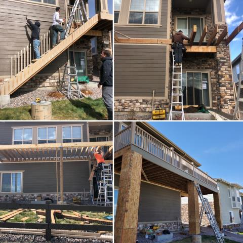 Aurora, CO - The homeowner wanted a new deck to stand out in the neighborhood, so our production team got to work and designed a custom deck for them.  The Trex Transcend Rope Swing was a perfect accent color for their home.  Whatever your home projects are during this time, we at Elite Construction are ready to help with the entire process from start to finish.