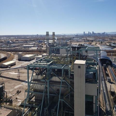 Denver, CO - Super cool view, looking at a roof on a commercial TPO roofing project we are working on at a local power plant.