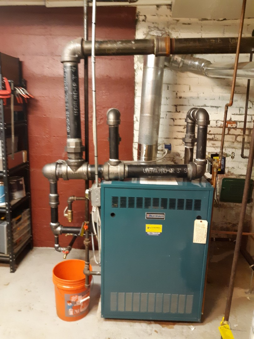 Newton, MA - Steam boiler repipe, Stopped boiler from making banging noises by piping boiler correctly.