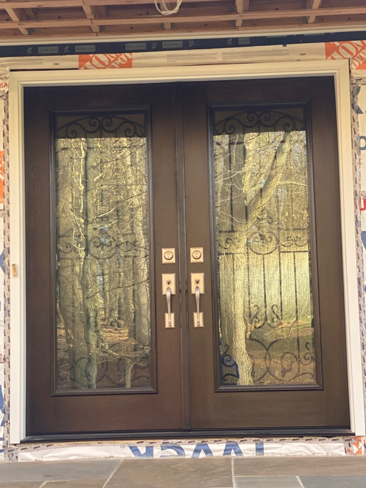 Lebanon, NJ - Beautiful new Provia entry door installed while we work on new brick veneer on the front of this home