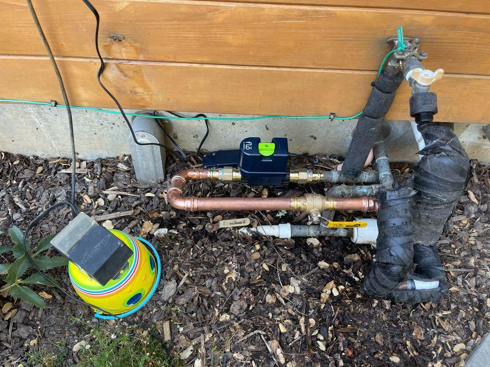 Healdsburg, CA - Plumbing: Install Moen Flo on Main water riser.