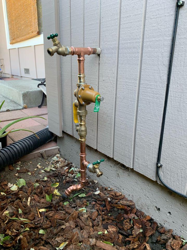 Main Water Riser Installation, New Pressure Regulating Valve Installation, New Leak Detection Hose Bib Tee