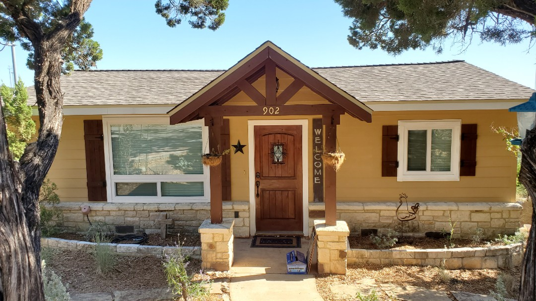 Canyon Lake, TX - We installed weathered wood GAF timberline HD shingles on a small gorgeous home with a spectacular view in Canyon Lake.