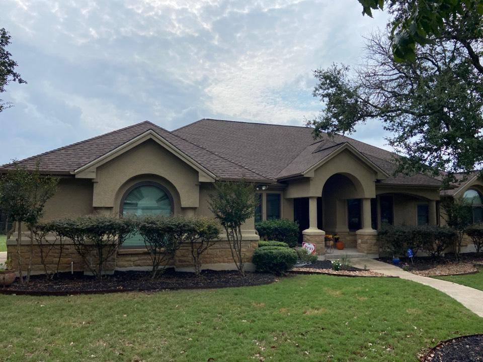 New Braunfels, TX - We installed GAF HDZ Barkwood shingles on a single story home in New Braunfels.