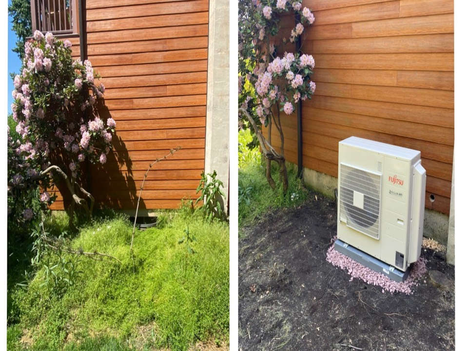 Glenmoore, PA - Day 1 of installing a Fujitsu dual zone mini split system. Here is a before and after picture of setting the heat pump inverter in place.