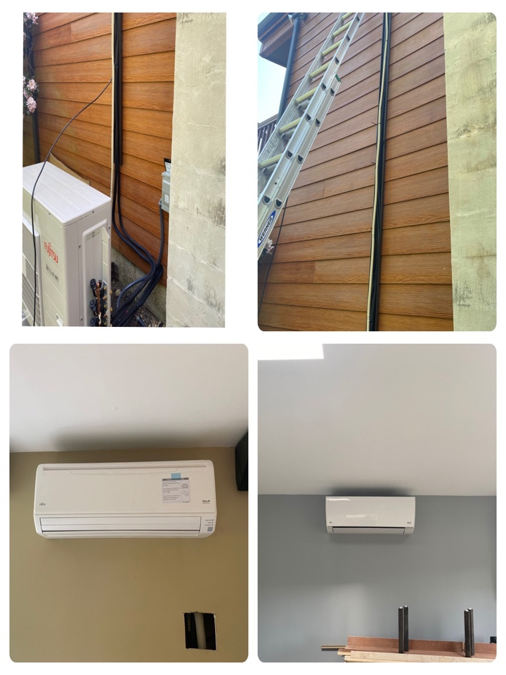 Glenmoore, PA - Progress from days 2 and 3. Refrigerant line sets are ran through the walls into the condenser outside. The air handlers were also hung. One in the living room and one in the bed room.
