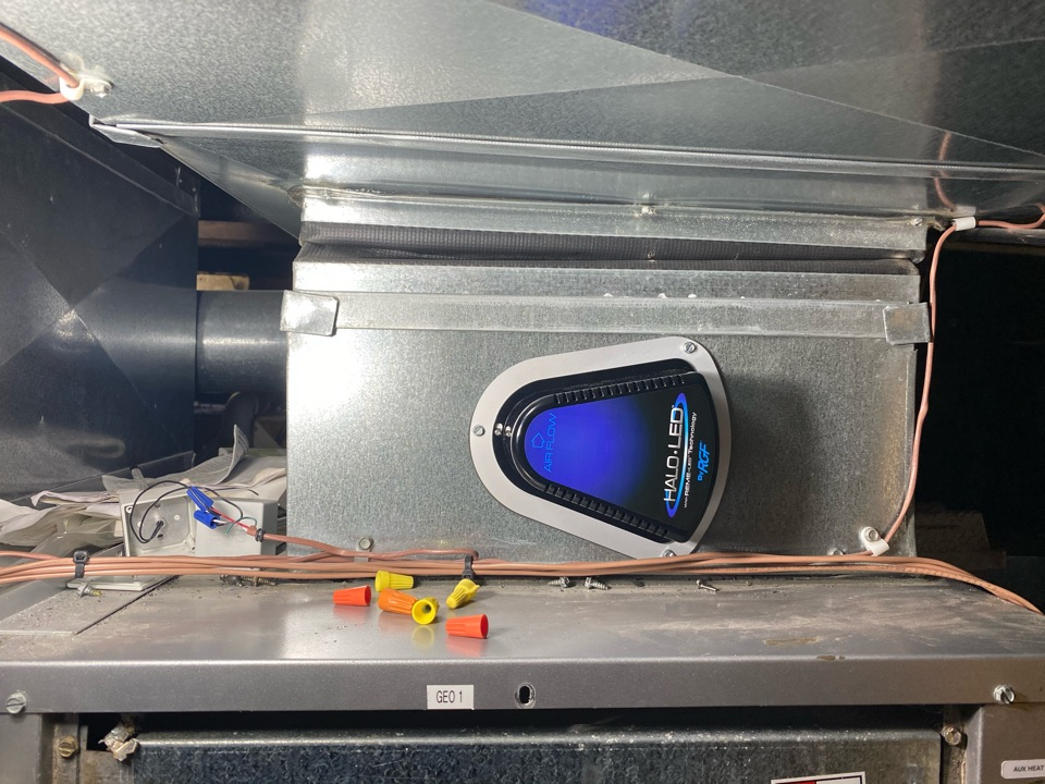 Wayne, PA - Installing an ultraviolet light system in this geothermal unit which will kill germs and bacteria.