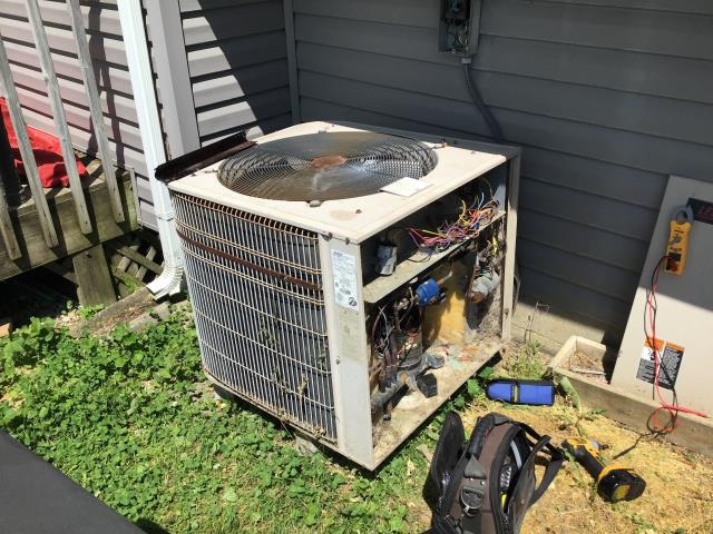 Jamestown, OH - Diagnostic call perfomed on a 1993 Lennox Heat Pump. Upon arrival  I found compressor not running, only the condenser fan is running. The compressor is broken, and customer has opted to have the system replaced.