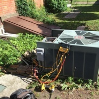 Jamestown, OH - Diagnostic Service Call on 2002 Ruud Air Conditioner.  Service work performed: Here for a no cool on 18 yr old AC system. System has been freezing up recently. On arrival I checked filter and it is clean. Made sure both indoor blowers were coming on.(twinned furnaces) Checked refrigerant charge and found it slightly under charged. Running at a 40° superheat. Added 2 lbs. 2 oz. of R22 to achieve a 18° superheat. Advised customer there is likely a leak in the system. Just wanted to charge it up for now.
