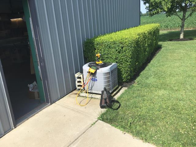 Jamestown, OH - Found Carrier AC low on refrigerant. Added 2 pounds of refrigerant. System is cooling properly at this time.