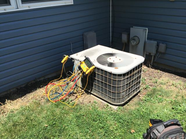 Cedarville, OH - here for a no cool on a 30 year old system. Customer states system has been freezing up, and even when not freezing up system seems to struggle when temperatures exceed 85°. Found system to be low on refrigerant. This system is extremely old and in poor overall condition, likely has a refrigerant leak. Provided customer replacement quote at his request.