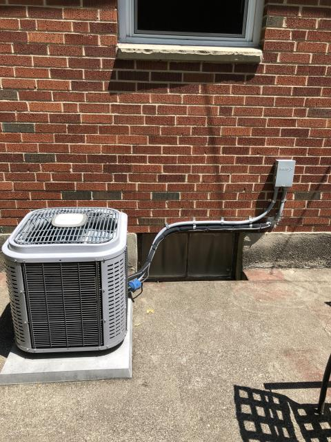 Dayton, OH - Provided instant online quote to install new Carrier AC to replace current McFee unit. Pictured below is the McFee.