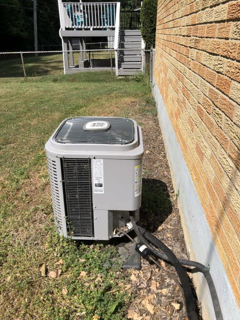 Miamisburg, OH - here for a return call, when we were here yesterday system was frozen up. System has been off now and is completely thawed. I replaced filters in two filter grills and checked refrigerant charge. Found refrigerant charge low, this was the reason system was freezing up. Customer just wants to have unit charged for now, if it leaks out again they would likely be interested in a replacement quote at that time but just not ready for that yet. I added 2 lbs. 1 oz. of 410 a refrigerant. Charged system to a 21° superheat. System operations are OK at this time. I did observe fluorescent dye residue when I removed my hoses so apparently somebody has already leak checked this in the past and apparently did not find the leak it would appear.
